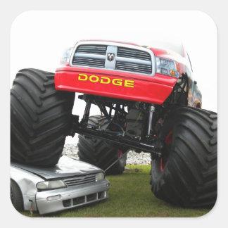 Monster Truck Smashing Car Square Sticker