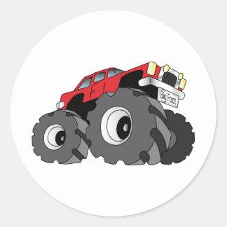 Monster Truck Round Stickers