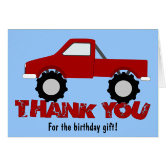 Monster Truck Thank You Card