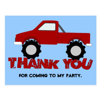 Monster Truck Thank You Postcard