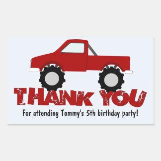 Monster Truck Thank You Sticker