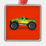 Monster truck - verde adorno de navidad