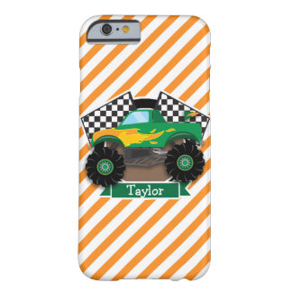 Monster truck verde, bandera a cuadros; Raya Funda De iPhone 6 Barely There