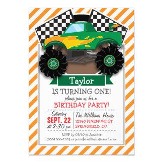 Monster truck verde, bandera a cuadros; Raya Invitación 12,7 X 17,8 Cm