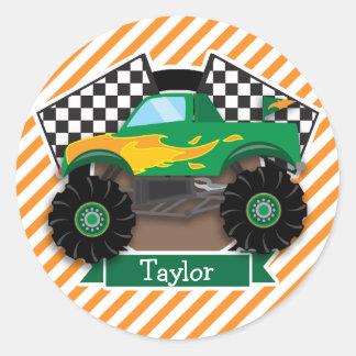 Monster truck verde, bandera a cuadros; Raya Pegatina Redonda