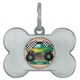 Monster truck verde, bandera a cuadros; Raya Placas De Nombre De Mascota