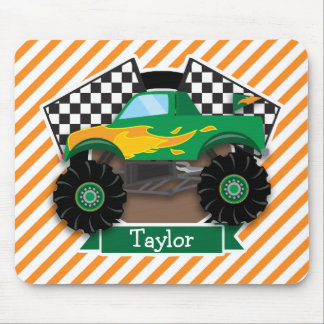 Monster truck verde, bandera a cuadros; Raya Tapete De Raton