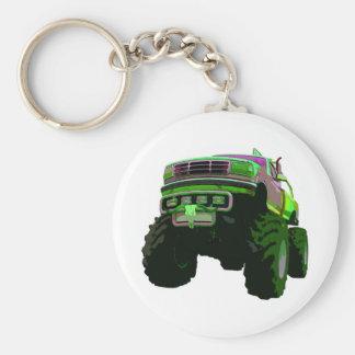 Monster truck verde llavero redondo tipo pin
