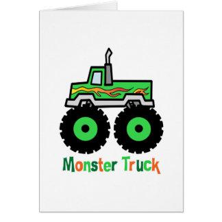 Monster truck verde tarjeta de felicitación