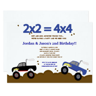 MONSTER TRUCKS 5x7 Birthday Invitations for Twins