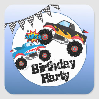 Monster Trucks Kids Boy Birthday Party Stickers