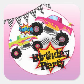 Monster Trucks Kids Girl Birthday Party Stickers
