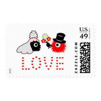 monster wedding postage stamps