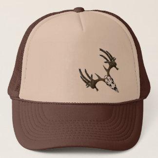 Monster whitetail buck skull trucker hat