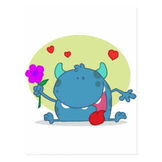 Monster with a Signal Purple Flower Postcard