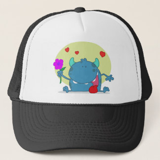 Monster with a Signal Purple Flower Trucker Hat
