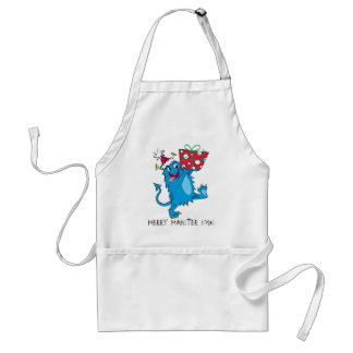 Monster with Christmas Gift Adult Apron