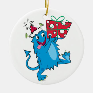 Monster with Christmas Gift Ornaments