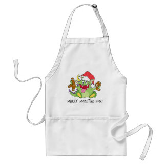 Monster with Gingerbread Man Adult Apron