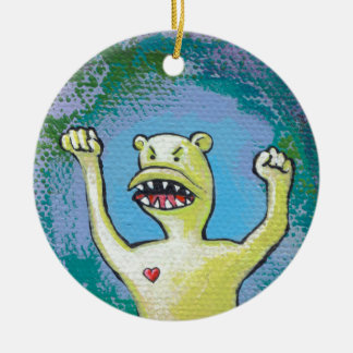 Monster with Heart - fun angry unique original art Christmas Ornaments