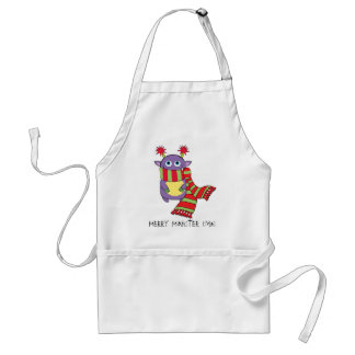 Monster with Holiday Scarf Adult Apron