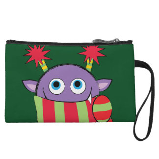 Monster with Holiday Scarf Wristlet Purse