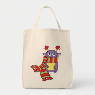 Monster with Holiday Scarf Canvas Bag