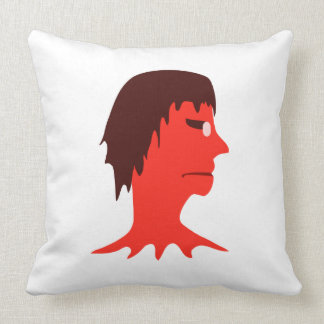 Monster with Men Head Illustration Throw Pillow