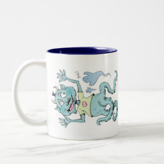 Monster with mustache Two-Tone coffee mug