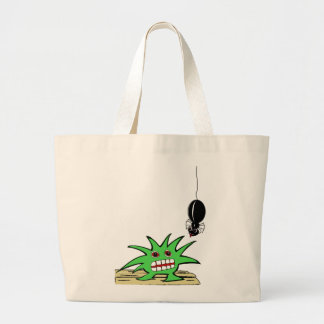 Monster with spider large tote bag