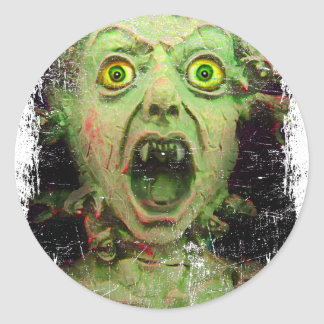 Monster Zombie Green Creepy Horror Classic Round Sticker