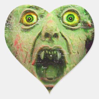 Monster Zombie Green Creepy Horror Heart Sticker