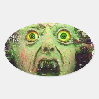 Monster Zombie Green Creepy Horror Oval Sticker