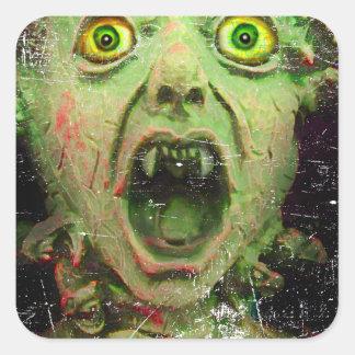 Monster Zombie Green Creepy Horror Square Sticker