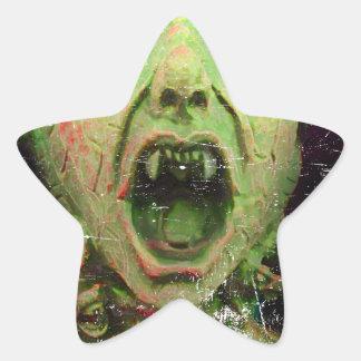 Monster Zombie Green Creepy Horror Star Sticker