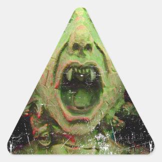 Monster Zombie Green Creepy Horror Triangle Sticker
