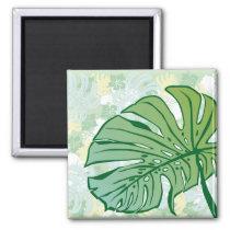 monstera, hawaii, tropical, plant, nature, green, haibisus, graphic, beach, sea, illustration, surfer, surfing, surf, summer, Ímã com design gráfico personalizado