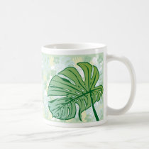 monstera, hawaii, tropical, plant, nature, green, haibisus, graphic, beach, sea, illustration, surfer, surfing, surf, summer, Caneca com design gráfico personalizado