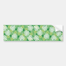 monstera, hawaii, tropical, plant, nature, green, haibisus, graphic, beach, sea, illustration, surfer, surfing, surf, summer, Bumper Sticker with custom graphic design