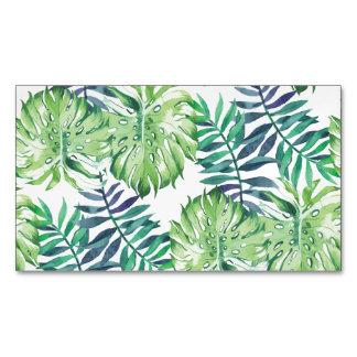 Monstera Deliciosa Hawaiian Island Tropics Leaves Business Card Magnet