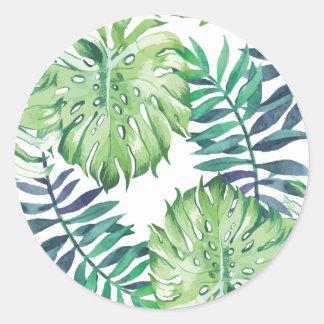 Monstera Deliciosa Hawaiian Island Tropics Leaves Classic Round Sticker
