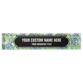 Monstera Deliciosa Hawaiian Island Tropics Leaves Desk Name Plate
