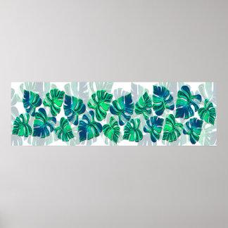 Monstera Deliciosa - Turquoise in White Print