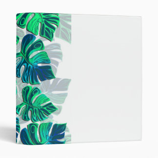 Monstera Delliciosa - Turquoise in White 3 Ring Binder