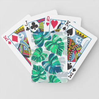 Monstera Delliciosa - Turquoise in White Bicycle Playing Cards