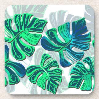 Monstera Delliciosa - Turquoise in White Drink Coaster