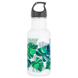 Monstera Delliciosa - Turquoise in White Water Bottle