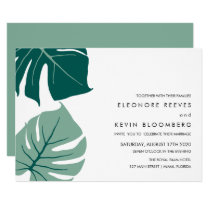 Monstera | Green | Philodendron leaves Wedding Invitation