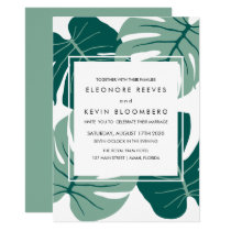 Monstera | Green | Tropical Leaves Frame Wedding Invitation