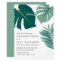 Monstera | Green | Tropical Leaves Wedding Invitation